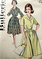 1950s Vintage LOVELY Shirt Dress with Notched Collar and Full Skirt Butterick 9399 Sewing Pattern Bust 32