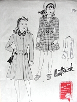 1940s Vintage CLASSIC Girl's Princess Coat Butterick 9427 Chest 28 Sewing Pattern