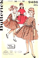 1960s PRETTY Girls Quick n Easy Dress Pattern BUTTERICK 9486 Three Sweet Styles Size 12 Vintage Childrens Sewing Pattern