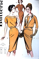 1960s FAB Day or After 5 Slim Dress and Jacket Pattern BUTTERICK 9544 Lovely Style Details Bust 34 Vintage Sewing Pattern