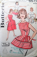 1950s Vintage FUN Apron in Two Styles and with Large Pockets Butterick 9579 Sewing Pattern