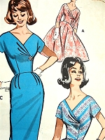1960s GLAMOROUS Evening Party Dress Pattern BUTTERICK 9654 Surplice Effect Bodice, Slim or Full Skirted Dress, Figure Flattering Design Bust 32 Vintage Sewing Pattern FACTORY FOLDED