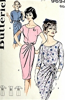 1960s CHIC Cocktail Party Draped Sheath Dress Pattern BUTTERICK 9694 Three Classy Styles Bust 40 Vintage Sewing Pattern FACTORY FOLDED