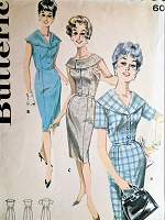 1960s Vintage ATTRACTIVE Fitted Dress with Three Collars Butterick 9765 Sewing Pattern Bust 37