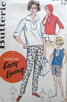 1950s Vintage SPORTY Pants, Shorts and Blouse with Hood Butterick 9778 Bust 36