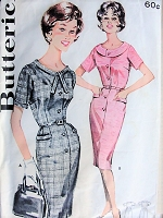 1960s ATTRACTIVE Slim Dress with Pockets Two Collar Styles Butterick 9797 Bust 44 Vintage Sewing Pattern