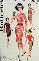 1960s SMART Slim Dress with Overskirt, Vest and Blouse Butterick 9935 Bust 34