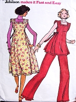 1970s CUTE Betsey Johnson BOHO Jumper,Tunic and Wide Leg Pants Pattern BUTTERICK 4427 Bust 30 Vintage Sewing Pattern