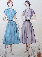 1950s PRETTY Dress Pattern BUTTERICK 5763 Rockabilly Quick n Easy Soft Dress With Scallop Details Bust 34 Vintage Sewing Pattern