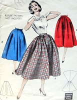 1950s Rockabilly Full Skirt Pattern BUTTERICK 6889 Quick n Easy Skirts 2 Styles Includes WRAPAROUND Back Waist 26 Vintage Sewing Pattern