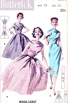 1950s ROCKABILLY Slim or Full Skirt Dress Pattern BUTTERICK 8074 Quick n Easy Cowl Bateau Neckline Bust 34 Vintage Sewing Pattern