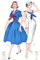 1950s Perky NAUTICAL Sailor Collar Middy Dress Pattern BUTTERICK 8595 Full or Slim Skirt Bust 34 Vintage Sewing Pattern