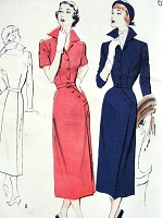 1950s STUNNING Wing Collar Button Details Dress Pattern BUTTERICK 5299 Smart Day or Evening Cocktail Dress Bust 34 Vintage Sewing Pattern