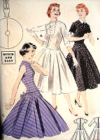 1950s GLAM Party Dress Pattern BUTTERICK 7304 Quick n Easy Long Torso , Full Skirt Evening Cocktail Dress Bust 32 Vintage Sewing Pattern