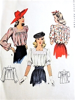 1940s BEAUTIFUL Blouse Pattern McCALL 4220 Square Neckline  Tuck In Blouse, 3 Style Versions, WW II Era Bust 30 Vintage Sewing Pattern
