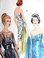 1950s GLAMOROUS Very Slim Strapless Dress, Overdress and Stole Pattern VOGUE Special Design 4060 Beautiful Evening Cocktail Party Dress Bust 31 Vintage Sewing Pattern