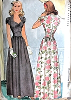 BEAUTIFUL 1940s Evening Dress Pattern McCALL 5561 Lovely Sweetheart Neckline Shaped Midriff Big Band Era WW II Gown Bust 32 Vintage Sewing Pattern