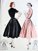 1950s  LOVELY Dress Pattern BUTTERICK 7223 Pure Flattery, Softly Pleated Dress , Hip Interest, Interesting Neckline Bust 30 Vintage Sewing Pattern FACTORY FOLDED