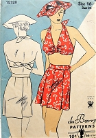FABULOUS 1930s Bathing Suit and Hat Pattern DuBARRY 1212 Flattering Bandeau Halter Top, High Waist Pleated Shorts, Beautiful Hat Bust 34 Vintage Sewing Pattern