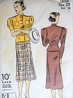 Vintage 1930s CASUAL Blouse and Skirt DuBarry 1666 Sewing Pattern Bust 38