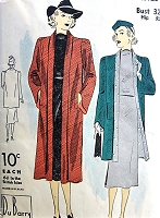 1930s ELEGANT Coat Pattern DuBARRY 1972B Tuxedo Revers, Slightly Bell Sleeves, In 2 Lengths and Three quarter Coat is Reversible Bust  32 Vintage Sewing Pattern