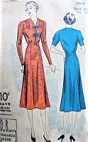 1930s LOVELY Dress with Slightly Flared Skirt Du Barry 2044 Bust 38 Vintage Pattern