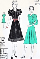 Late 30s FLIRTY Dress Party or Daytime DuBARRY 2330 Flattering Shaped Neckline Two Style Versions B 34 Vintage Sewing Pattern FACTORY FOLDED