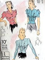 1940 BEAUTIFUL Blouses Pattern DuBARRY 2471 Three Overblouses Day To Evening Styles Bust 32 Vintage Sewing Pattern