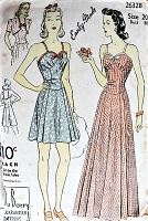 1940s EASY To Make Beach Dress or Evening Gown and Bolero Jacket Pattern SWEET Styles Figure Flattering Bust 38 Vintage Sewing Pattern