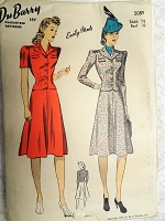 1940s SHARP Two pc Dress or Suit Pattern DuBARRY 5089 Easily Made Fitted Tailored Jacket Flared Skirt Bust 32 Vintage Sewing Pattern