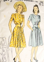 1940s PERKY Dress Pattern DuBARRY 5392 Two Pretty Styles Bust 32 Vintage Sewing Pattern FACTORY FOLDED