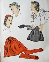 1940s FABULOUS Hats, Bags and Gloves Pattern DuBARRY 5763 Six Piece Calot Hat With Optional Veil Version, Smart 40s Accessory Vintage Sewing Pattern