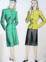 1940s FAB Canteen Style Suit Pattern DuBARRY 6103 Fitted Jacket Front Center Pleat Slim Skirt Suit Bust 40 Vintage Sewing Pattern