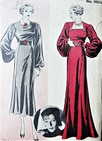 RARE 1930s GORGEOUS Evening Gown Pattern HOLLYWOOD 1005 Glamorous Sleeves, 2 Styles,2 Lengths,Featuring Starlet Katharine Hepburn Bust 38 Vintage Sewing Pattern