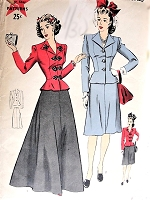 1940s Vintage ELEGANT Two Piece Dress with Peplum Jacket Hollywood Patterns 1032 Bust 34 Fashion Sewing Pattern