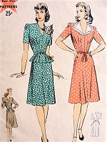 1940s FLIRTY Dress with or without Peplum Hollywood Pattern 1091 Bust 34 Vintage Sewing Pattern