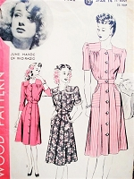 1940s CUTE Front Button Dress Pattern HOLLYWOOD 1132 Featuring RKO Starlet June Havoc Three Style Versions Bust 32 Vintage Sewing Pattern