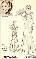 1930s GLAMOROUS Evening Gown and Jacket Pattern HOLLYWOOD 1148 Featuring Starlet Anita Louise, Camisole Slip Style Slinky Evening Dress, Puff Sleeves Bolero, Pure Glamour Bust 30 Vintage Sewing Pattern
