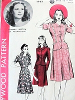 1940s CUTE 2pc Dress or Suit Pattern HOLLYWOOD 1163 Featuring Starlet Barbara Britton Mid 40s Fitted Jacket, Flared Skirt 3 Style Versions Bust 34 Vintage Sewing Pattern