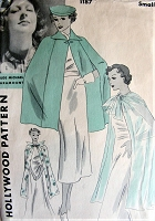 1930s GLAMOROUS Evening or Daytime Length Capes Pattern HOLLYWOOD 1187 Paramount Movie Starlet Gertrude Michael Vintage Sewing Pattern