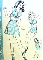 1940s PIN UP Beach Wear Pattern HOLLYWOOD 1354 Playsuit Swimsuit Romper Brassiere, Shorts, Skirt Bust 28 Vintage Sewing Pattern