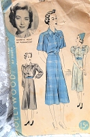 1930s PRETTY Dress Pattern HOLLYWOOD 1517 Features Starlet Marsha Hunt Three Style Versions Bust 34 Vintage Sewing Pattern
