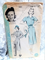 1930s CLASSY Tailored Dress Pattern HOLLYWOOD 1526 Features Starlet Claire Trevor Smart Design Bust 34 Vintage Sewing Pattern