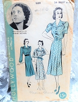 1930s CHIC Dress Pattern HOLLYWOOD 1539 Featuring Kay Francis of Warner Brothers 3 Lovely Versions Bust 34 Vintage Sewing Pattern