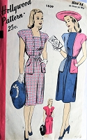 1940s Vintage LOVELY Dress with High or Square Neckline and Large Pockets Hollywood Pattern 1539 Bust 32