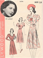 1930s BEAUTIFUL Dress Pattern HOLLYWOOD 1576 Featuring Warner Studios Movie Star Kay Francis Day or Party Dress Lovely Design Bust 36 Vintage Sewing Pattern