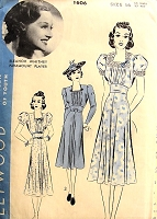 1930s BEAUTIFUL Dress Pattern HOLLYWOOD 1606 Square Neckline Two Pretty Sleeve Styles, Shaped Midriff Day or Party Dress Bust  34 Vintage Sewing Pattern