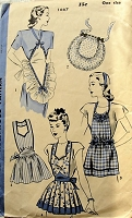 1940s BEAUTIFUL Hostess,Tea and Kitchen Aprons Pattern HOLLYWOOD 1667 Five Lovely Styles Full Bib and Half Aprons Vintage Sewing Pattern