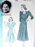 Late 1930s FLIRTY Square Neckline Dress Pattern HOLLYWOOD 1669 Featuring MGM Starlet Maureen O Sullivan Bust 36 Vintage Sewing Pattern