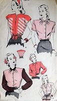 1940s WONDERFUL Blouse Pattern HOLLYWOOD 1670 Four Style Versions Bust 32 Vintage Sewing Pattern